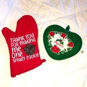 Holiday funny red green oven mitt & potholder NEW